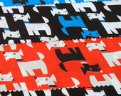 RESERVED SALE 30% Off Fabric VIP Cranston Print Works Mod Animals Dog Scottie Fabric Samples Pieces Scraps Geometric Abstract Hippie