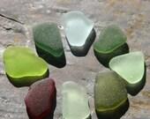 Rare Seaglass Red, Aqua, Lime Green, Sage, Teal & Seafoam. Undrilled. Lot C9.