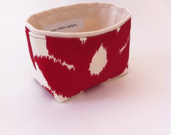 mini fabric storage bin  // small basket in deep red and natural // ikat