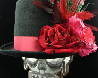 La Rosa Catrina Top Hat, Day of the Dead/Halloween/Mardi Gras/Wedding/Cosplay Accessory