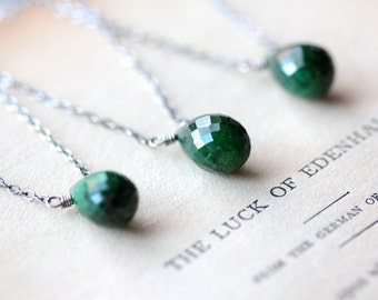 May Birthstone Necklace Emerald Necklace Sterling Silver Necklace Lucky St. Patricks Day Necklace Green Gemstone Pendant Necklace - Sláinte