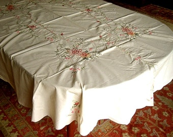 "Tablecloth Vintage But UNUSED Deep Pastel Flowers Embroidered Open Lace 82"" NIP"