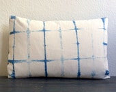 "Shibori Lumbar Pillow Cover 16"" x 24"" Hand Dyed, Natural Indigo Dye SALE - 30% off!"