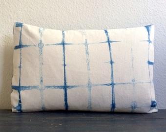"Shibori Lumbar Pillow Cover 16"" x 24"" Hand Dyed, Natural Indigo Dye SALE - 30% off!"