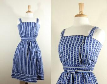 1970s Dress / Vintage Lanz Blue Floral Dress
