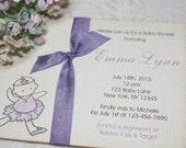 Baby Shower Invitations - Ballerina - Ribbon - Birthday Invitation - Purple Dancer - Set of 10