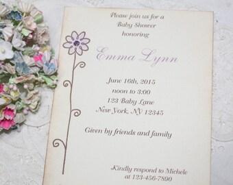 Flower Invitations - Baby Shower Invitation - Birthday - Purple Flower - Set of 10