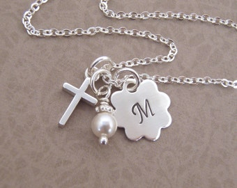 First communion necklace - Dainty Cross and initial necklace - Goddaughter gift - Girl's baptism - Sterling silver - Photo NOT actual size