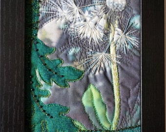 Art Quilt, Mini Fiber Art,Framed art, mixed media, collage art, fiber collage, Textile art, photography