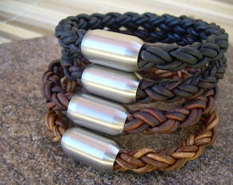 Magnetic Clasp Braided Leather Bracelet,  Mens Bracelet, Mens Jewelry, Stainless Steel , Fathers Day Gift, Groomsmen