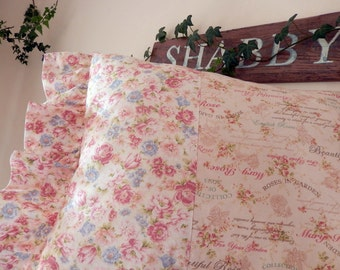 English Roses Pink Garden Roses Letterings lilacs make Cottage Chic Pillow