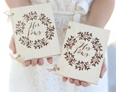 His & Hers Rustic Wood Vow Books Barn Wedding QUICK shipping available