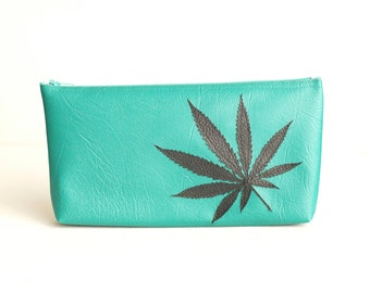 "Marijuana Leaf Clutch - Vegan Pot Leaf Pouch : Turquoise Green Vegan Leather Clutch with Black Cannabis Leaf Silhouette - ""Amsterdamsel"""