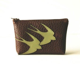 "Small Vegan Zippered Wallet / Mini Clutch - Green Birds on Brown Faux Leather : ""Aerodynamic"""