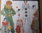 Clown Jester Mime Costume Adult small Simplicity 5740 or Simplicity 9801 size 2 to 12 children Sewing Pattern