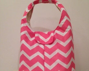 Lunch Bag Insulated Coral and White Chevron