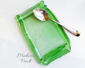 Green Mason Jar Spoon Rest, melted mason jar soap dish, tray, plate, dessert dish, ring dish, gift box included