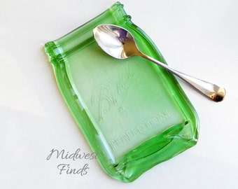 Green Mason Jar Spoon Rest, melted quart mason jar soap dish, tray, plate, dessert dish, ring dish, gift box included