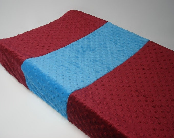 Crimson Red Changing Pad Cover with Stripe