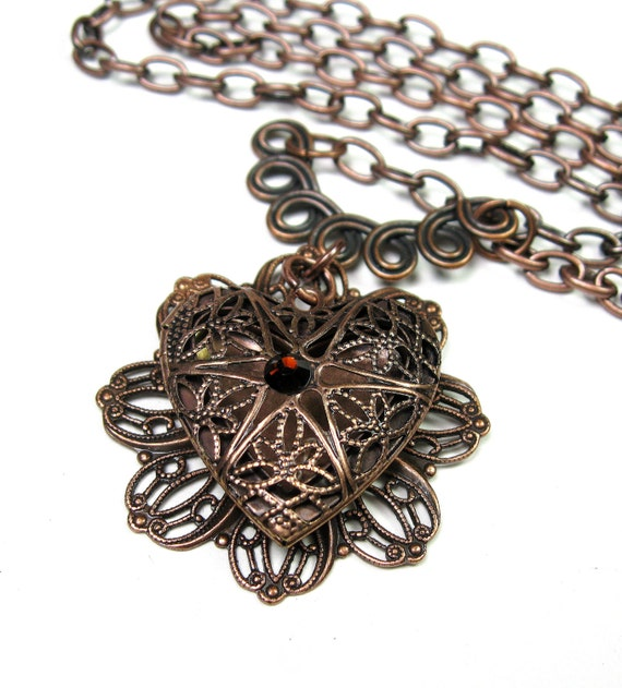 Locket Necklace, Heart Necklace, Antique Copper, Heart Pendant Necklace, Filigree Copper, Romantic, Celtic Knot, jewelry by NaLa, Gifts