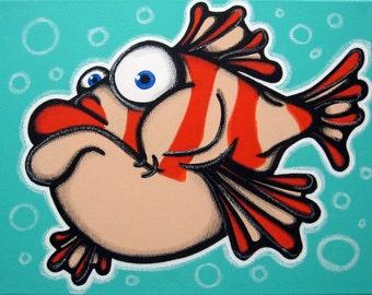 pUFF the pUFFeR FiSH - 12x16 original acrylic painting on canvas , fish art, fish painting
