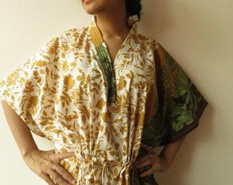 White Mustard Leafy Kaftan Pajamas to live in beachwear Caftan, spa robe..make great Anniversary or Birthday gifts, new mom Gift