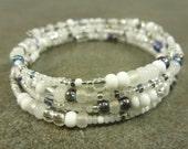 Winter Wonderland Bracelet Czech Glass and Memory Wire Bracelet White Vitrail Iris