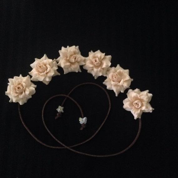 Beige Silk Flower Power Bohemian Flower Crown Headband