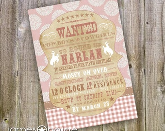 Girly Cowboy Themed Shabby Chic Western Birthday Invitation ( 5x7) Digital Design