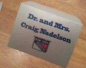 NEW YORK RANGERS Escort Cards, Place card.logo. hockey. bar mitzvah. sports theme.Mr. & Mrs. party. seating. tables