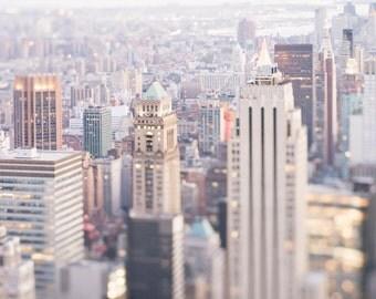 New York Photography - Glimmer, City Skyline at Dusk, Manhattan Urban Home Decor, Large Wall Art