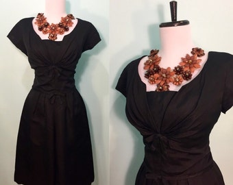 ON SALE Vintage 1950's Black Pencil Dress with Bows