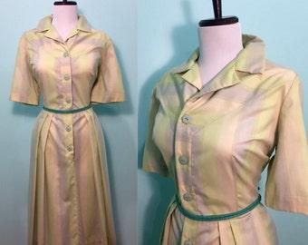 ON SALE Vintage 1950's Green & Gray Striped Shirtwaist Dress Size Large