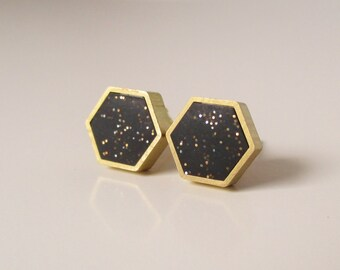 black sparkle brass hexagon stud earrings