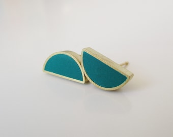 deep green teal brass half moon stud earrings