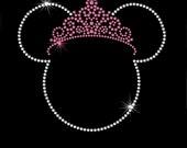 6.5 inch Minnie Mouse Princess rhinestone transfer your tiara color