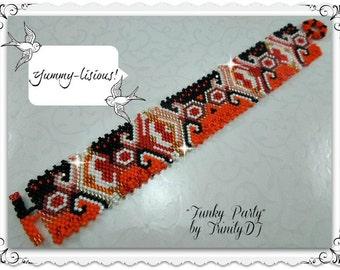 GEO-066a-2016-107 - Funky Party - Odd Count Peyote Stitch Bracelet - One Of A Kind Design - Real fashion statement piece