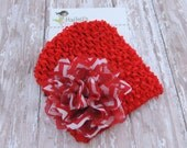 Valentine's Day Waffle Beanie for Infant, Newborn Valentines Day hat, Red White Chevron Print Flower Hat