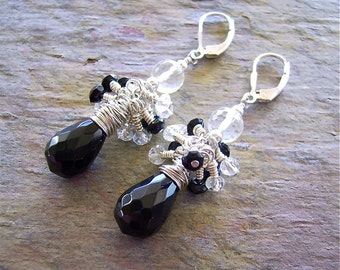 Jet Black Faceted Onyx Briolettes with Micro Faceted Clear Quartz Balls and Clear Quartz and Onyx Rondelles - Fun Summertime!