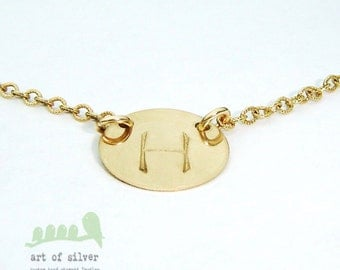 Gold Charm Necklace - Hand Stamped Initial Gold Necklace - Women Jewelry - Simple Necklace - Monogram