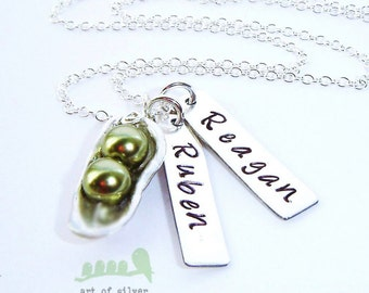 Sale - 2 peas in a pod necklace - personalized necklace -  mommy jewelry - handstamped necklace - valentines