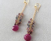 Ruby and Spinel Gemstone Cluster Long Dangle Earrings in Gold Vermeil