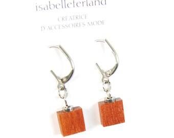 wood earrings /  stainless steel / Bloodwood / isabelle ferland