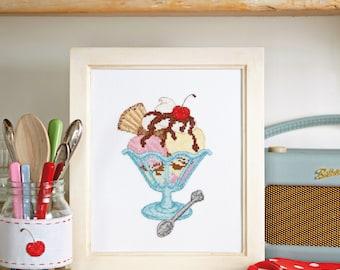 Ice Cream Sundae - Cross Stitch Pattern