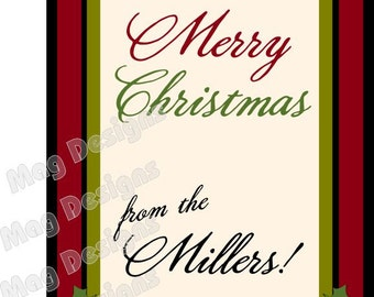 Christmas Wine Labels - Photo Wine Labels - Customizable - Christmas Gifts (10) Add your personal message!