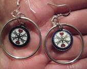 Hearts and Stars Hex Sign Hoop Earrings--Choose Clip On Earrings or Pierced Earrings