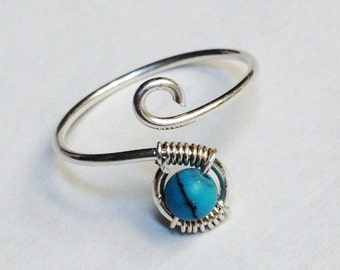 Turquoise Ring  Turquoise Gemstone Ring  Turquoise Jewelry  December Birthstone Sterling Silver Rings for Women