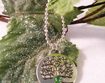 AUGUST Birth Month Celtic Silver TREE of LIFE Peridot Swarovski  Necklace-Ireland Jewelry
