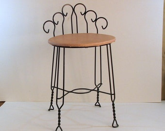 Vintage 1950s Vanity Stool, Boudoir Chair, Dressing Table Seat