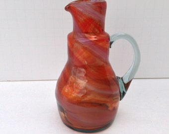 Vintage Amber Swirled Hand Blown Bottle with Handle